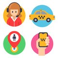 Round icons for taxis. operator, car, hand with phone, landing mark.