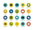 Round icons thin flat design, modern line stroke