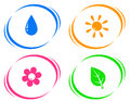 Round icons with water drop sun flower and green leaf on white background Royalty Free Stock Photos