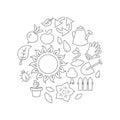 Round illustration gardening theme