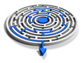 Round labyrinth with blue arrow output down Royalty Free Stock Photo