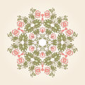 Round lace abstract ornamental circle with vintage floral elements Stock Photography