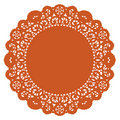 Round Lace Doily, Pumpkin Stock Photo