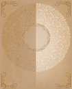 Round lace ornaments card with on old paper Royalty Free Stock Image