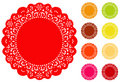 Round Lace Round Doily, 9 Bright colors Stock Photo