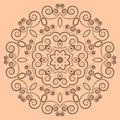 Round lacy brown pattern on beige background