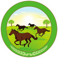 Round logo with wild horses green illustration of brown running in an open field trees in the background Royalty Free Stock Photography