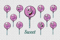 stock image of  Round Lollipop candy emotions characters collection set