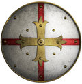 Round medieval shield with golden cross Royalty Free Stock Photo