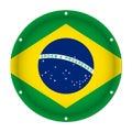 Round metallic flag of Brazil with screw holes