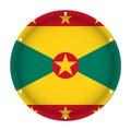 Round metallic flag of Grenada with screw holes