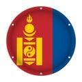 Round metallic flag of Mongolia with screw holes