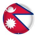 Round metallic flag of Nepal with screw holes