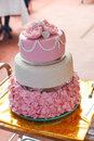 Round multi tiered wedding cake with sponge