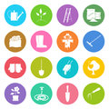 Round Multicolored Icons Gardening Equipment