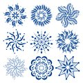 Round ornaments set of colorful vector mandalas or snowflakes. Royalty Free Stock Photo