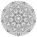 Round outline Mandala for coloring book. Vintage decorative