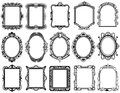 Round, oval, rectangular vintage victorian, baroque vector frames Royalty Free Stock Photo