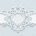 Round paper lace frame Royalty Free Stock Photo