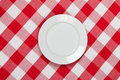 Round plate on red checked tablecloth Stock Photos