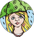 Round portrait of young cute girl under umbrella green colorful vector illustration Royalty Free Stock Photography
