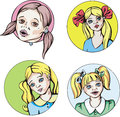 Round portraits of young cute girls with pigtails set colorful vector illustrations Stock Photo