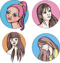 Round portraits of young cute women set colorful vector illustrations Stock Photo