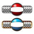 Round race badge Royalty Free Stock Photo