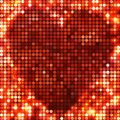 Round red mosaic spots heart vector background with light in the shape of Stock Images