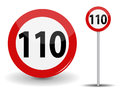 Round Red Road Sign Speed limit 110 kilometers per hour. Vector Illustration. Royalty Free Stock Photo
