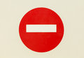 Round red road sign on white isolated door. No Entry - mounted  perfect empty . Royalty Free Stock Photo