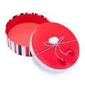 Round red and white gift box Royalty Free Stock Photo