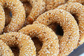Round rusks with sesame seeads closeup picture Stock Photography