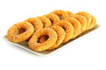 Round rusks with sesame seeads on tray Stock Photo