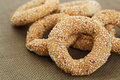Round rusks with sesame seeds closeup picture Stock Image