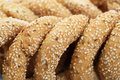 Round rusks with sesame seeds closeup picture Royalty Free Stock Images