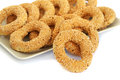 Round rusks with sesame seeds on tray Stock Photography