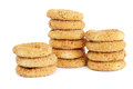 Round rusks stacks of isolated on white background Royalty Free Stock Photography