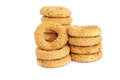 Round rusks stacks isolated on white background Royalty Free Stock Photos