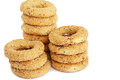 Round rusks stacks of on white background Stock Images