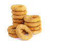Round rusks stacks of on white background Royalty Free Stock Photo