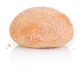 Round sandwich bun with sesame seeds isolated on white background Stock Photography