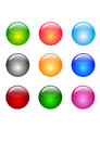 Round set of different color backdrops colored convex buttons Stock Photos