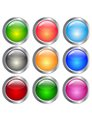 Round set of different color backdrops colored convex buttons Stock Photography