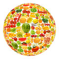 Round shape made from various fruits and vegetables Stock Photos
