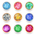 Round shape top view bezel colored gems set of nine in the frame on white background you can change metal toning easily eps vector Stock Photography
