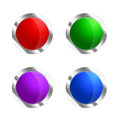 Round shields four rounded metal and colored isolated on white Royalty Free Stock Photo