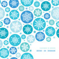 Round snowflakes corner frame pattern background vector with drawn on light blue Royalty Free Stock Image