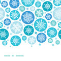 Round snowflakes horizontal border seamless vector pattern background with drawn on light blue background Royalty Free Stock Image