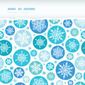 Round snowflakes horizontal torn seamless pattern vector background with drawn on light blue background Stock Photography